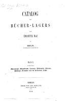 Catalog des B  cher Lagers von E  Mai in Berlin  etc  Bd  1 PDF