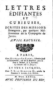 Lettres edifiantes et curieuses: ecrite des missions etrangères, Volume18