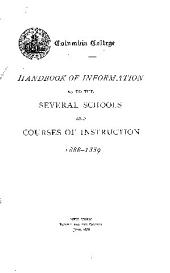 Handbook of Information as to the Various Schools & Courses of Instruction