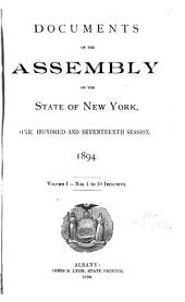 Documents of the Assembly of the State of New York: Volume 1