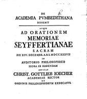 De academia Pvmbedithana disserit: atque ad orationem memoriae Seyffertianae sacram ...