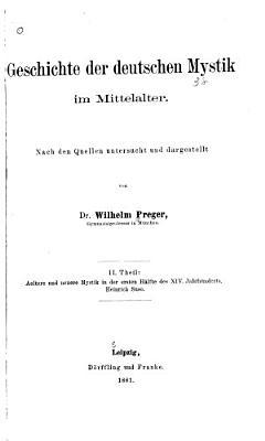Geschichte der deutschen Mystik im Mittelalter nach den Quellen untersucht und dargestellt PDF