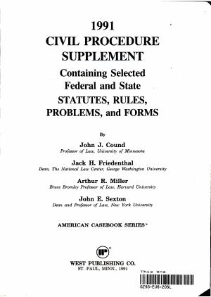 1991 Civil Procedure Supplement PDF