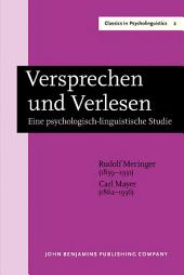 Versprechen und Verlesen: Eine psychologisch-linguistische Studie. New edition