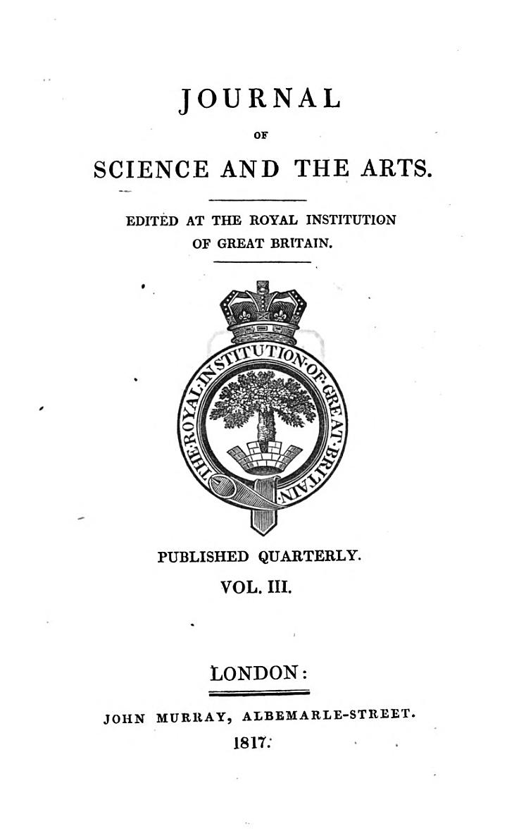 The Journal of science and the arts