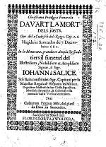 Christiana Prœdgia Funeræla davart la mort dels Jüsts. Our del 2 Cudesch dels Raigs. Cap. 2, 2. ... In la ... respœda tiers il funeræl del ... Signur ... Johann à Salice, etc