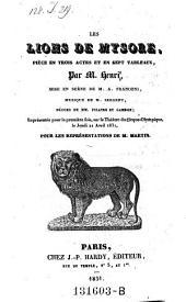 Les lions de Mysore, piece en 3 actes