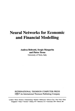Neural Networks for Economic and Financial Modelling PDF