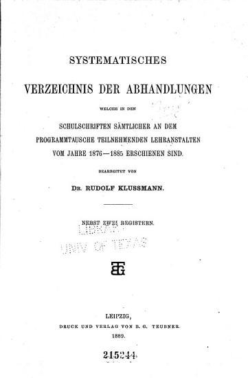 Systematisches Verzeichnis der Abhandlungen  Bd  1876 85  1889 PDF