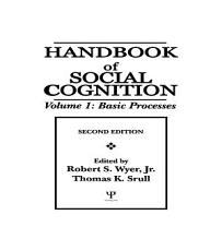 Handbook of Social Cognition PDF