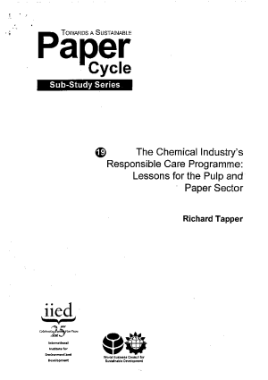 The Chemical Industry s Responsible Care Programme