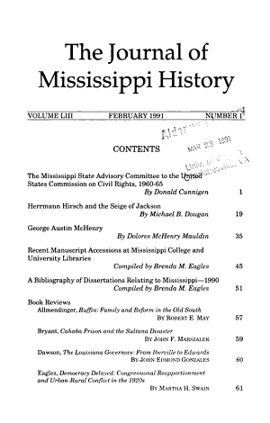 The Journal of Mississippi History PDF