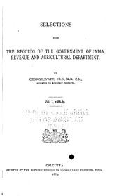 Selections from the Records of the Government of India, Revenue and Agricultural Department: 1888-89