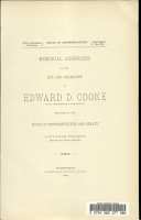 Memorial Addresses on the Life and Character of Edward D  Cooke PDF