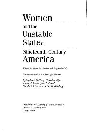 Women and the Unstable State in Nineteenth century America PDF