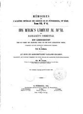 Ibn Mâlik's Lâmîyat al Af'âl mit Badraddîn's Commentar: Ein Lehrgedicht über die Formen der arabischen Verba und der davon abgeleiten nomina