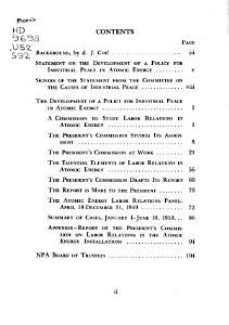 The Development of a Policy for Industrial Peace in Atomic Energy