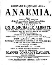 Diss. inaug. med. de anaemia