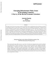 Emerging Infrastructure Policy Issues in Developing Countries: A Survey of the Recent Economic Literature