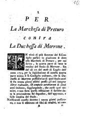 Per la marchesa di Preturo contra la duchessa di Morrone [G.P.C.]