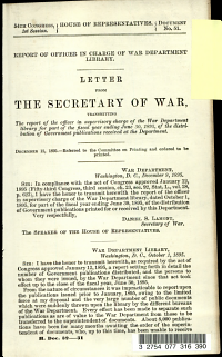 Report of Officer in Charge of War Department Library PDF