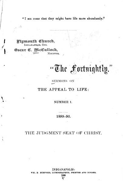 Download The Fortnightly Sermons on the Appeal to Life  No  1     Book