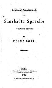 Kritische Grammatik der Sanskrita-Sprache in kürzerer Fassung