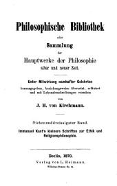 Kleinere Schriften zur Ethik und Religionsphilosophie: Teil 1