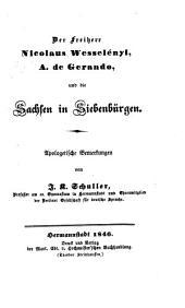 Der Freiherr Nicolaus Wesselényi, A. de Gerando, und die Sachsen in Siebenbürgen: Apologetische Bemerkungen
