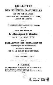 Bulletin des sciences naturelles et de géologie: Volume17