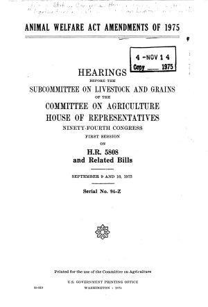 Animal Welfare Act Amendments of 1975