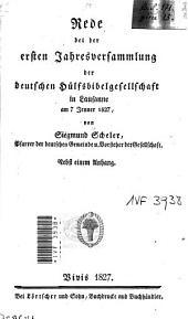 Rede bei der ersten Jahresversammlung der deutschen Hülfsbibelgesellschaft in Lausanne: am 7. Jenner 1827