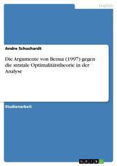 Die Argumente von Benua (1997) gegen die stratale Optimalitätstheorie in der Analyse