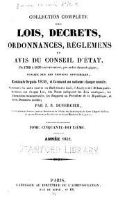 Collection complète des lois, décrets d'intérêe général, traités internationaux, arrêtés, circulaires, instructions, etc: Volume52