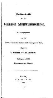 Zeitschrift für Naturwissenschaften: Band 20