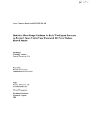 Statistical Shortrange Guidance For Peak Wind Speed Forecasts On Kennedy Space Center Cape Canaveral Air Force Station Phase 1 Results  Book PDF
