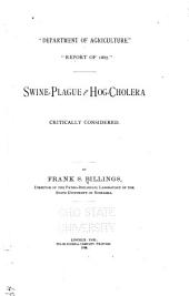 Department of Agriculture: Report of 1887 : Swine-plague and Hog-cholera Critically Considered
