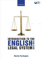 Introduction to the English Legal System 2013 2014 PDF