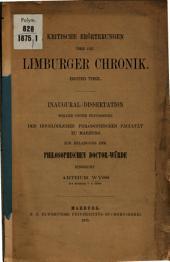 Kritische Erörterungen über die Limburger Chronik: Teil 1