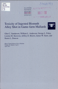 Acute Toxicity of Ingested Bismuth Alloy Shot in Game farm Mallards PDF