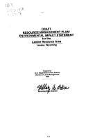 Draft Resource Management Plan environmental Impact Statement for the Lander Resource Area  Lander  Wyoming PDF