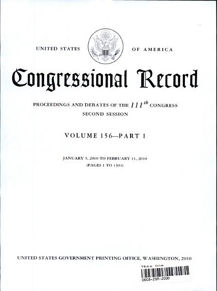 Download Congressional Record Index  Volume 156  A K  L Z Book