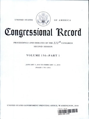 Congressional Record Index  Volume 156  A K  L Z PDF