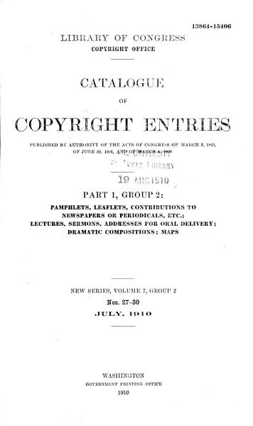 Download Catalogue of Copyright Entries Book