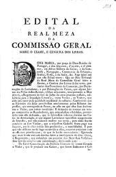 Edital Da Real Meza Da Commissão Geral sobre O Exame, E Censura Dos Livros