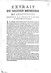 Extrait du second memoire de l'Université, contre la Communauté des Maîtres Barbiers-Chirurgiens