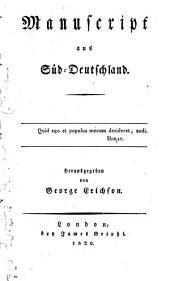 Manuscript Aus Süd-Deutschland
