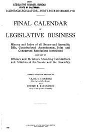 Final Calendar of Legislative Business