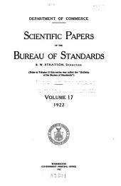 Scientific papers of the Bureau of Standards: Volume 17, Issues 405-438
