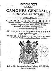 Verbum Dei: Canones generales linguae sanctae hebraicae